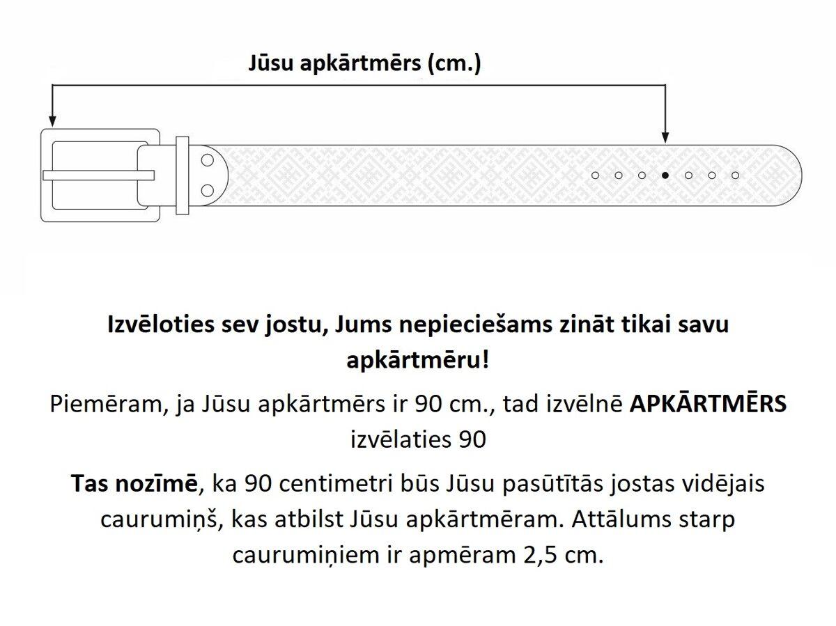 Melna ādas josta ar latviešu rakstiem. Zelta krusts. 35. mm